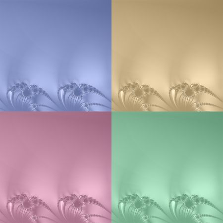 A selection of four beautiful fractal backgrounds resembling delicate embroidery in blue, gold, rose pink and soft green. Stock Photo