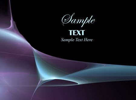 Abstract fractal background of blue and purple wisps of color over a black background with copy space for text
