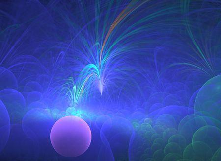 Amazing background image of blue bubbles bursting with effervescence. Stock Photo
