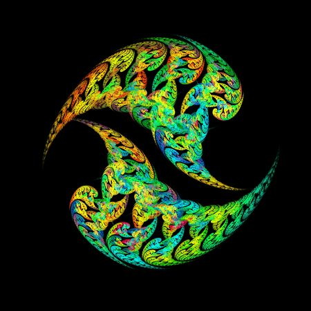 Unusual paisley fractal ying and yang shapes over black background