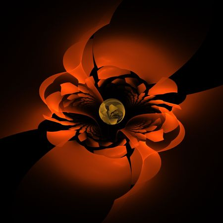 Beautiful stylized red rose fractal image with dark background.