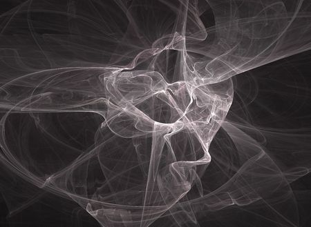 Fractal swirls of smoke over a black background