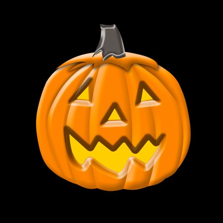 Cute illustration of a Halloween Pumpkin or Jack-O-Lantern isolated over black background  Stock Photo