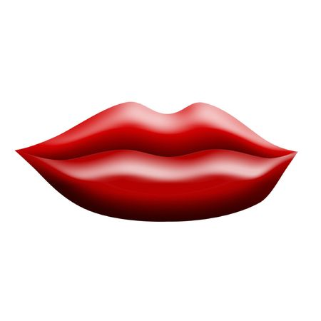 Illustration of luscious red lips closed in a soft smile, over a white background. Stock Photo