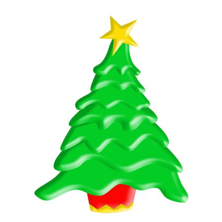 Bright illustration of a Christmas Tree with red tub and bright yellow star on top.