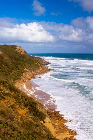 A beautiful view of the rugged coast at The Bend, on the Great Ocean Road, Victoria Australia.