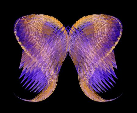 Abstract angel wings in gold and purple over a black background