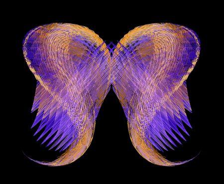 alas de angel: Alas de �ngel abstracto en oro y p�rpura sobre un fondo negro