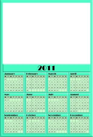 A useful 2011 Calendar in green with full year calendar at the bottom and copy space at the top for your image, or promotional text.