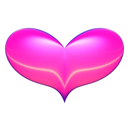Bright pink heart with dark blue and lemon accents isolated over a white background.