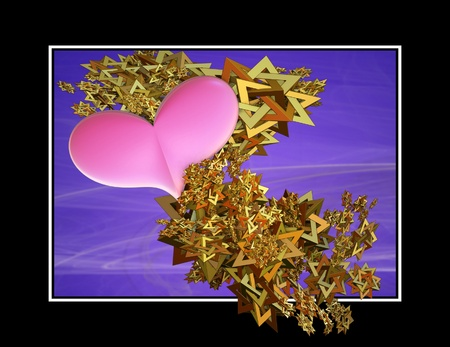 Three dimensional illustration of a pink heart emerging from a spangle of golden star shapes which emerge from the inside of the black frame towards the viewer.