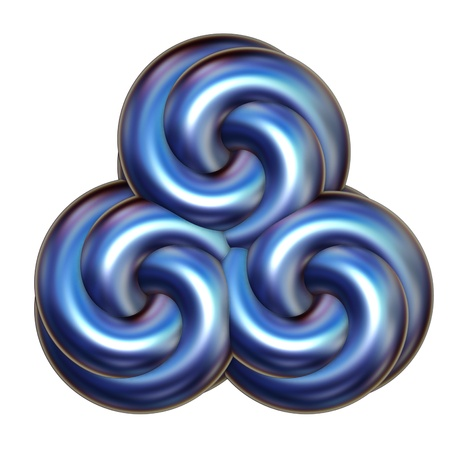 Abstract icon illustration of a triple swirl in blue metallic tones over a white background. Stock Photo