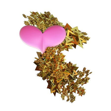 Pink hearts emerging from a spangle of golden stars isolated over white background