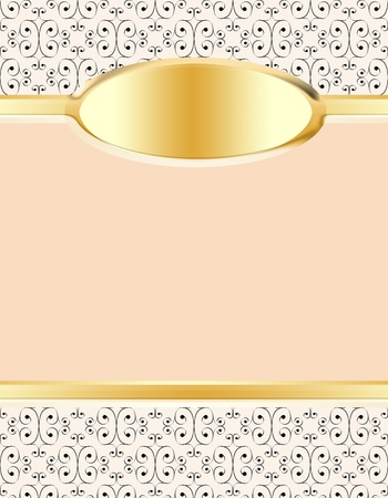 gold plaque: Delicate stationery background in peach and cream with fine modern damask design at top and bottom with a peach colored panel for text in the middle and gold accents with room for monogram or initials on an oval gold plaque. Stock Photo