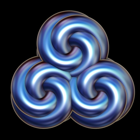Abstract icon illustration of a triple swirl in blue metallic tones over a black background. Stock Photo