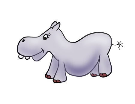 Cartoon illustration of a cute hippopotamus isolated over white background Stock Photo