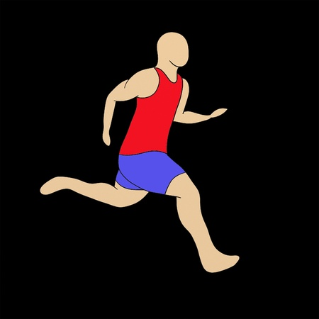 Illustration of a barefoot runner isolated over black background