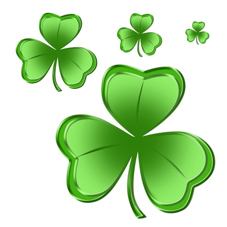 Four Bright green shamrocks isolated over white background photo