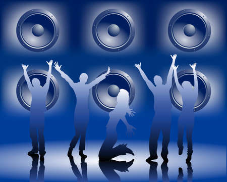 enthusiasm: dancing people Illustration