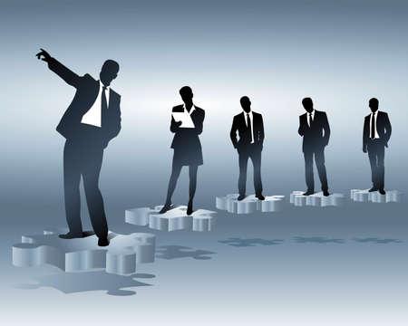 business team en posities Stock Illustratie