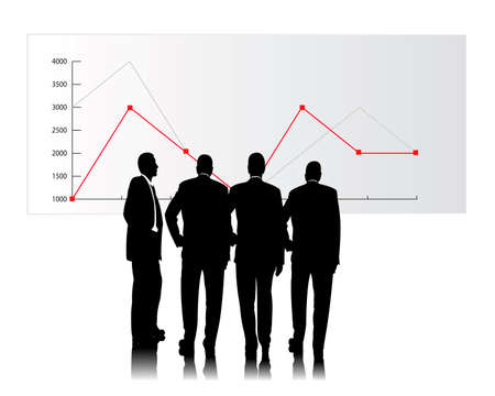 stock quotes: business people consider a sales chart Illustration