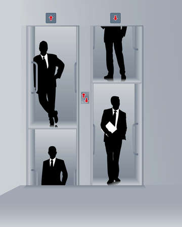 Paternoster with business people Vector