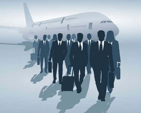 man in air: business travelers Illustration