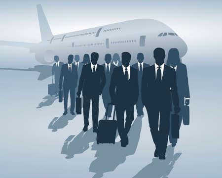 business man vector: business travelers Illustration