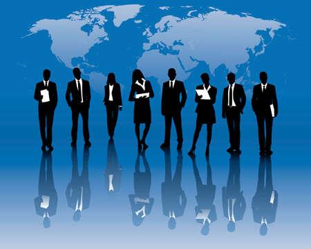 global economy: business team Illustration