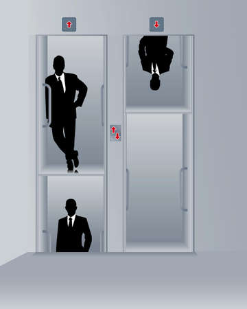 business men in a paternoster Vector
