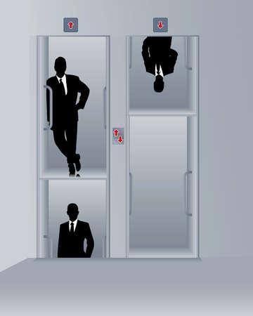 uomini d'affari in un Paternoster