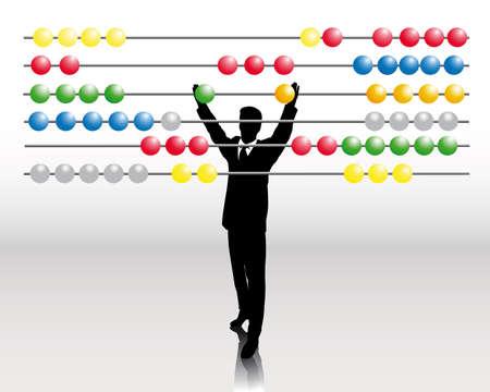 kollegen: Gesch�ftsmann mit abacus  Illustration