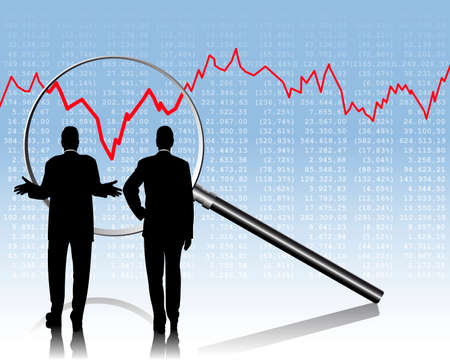 stock  exchange: dos personas de negocios est�n comprobando las cotizaciones burs�tiles Vectores