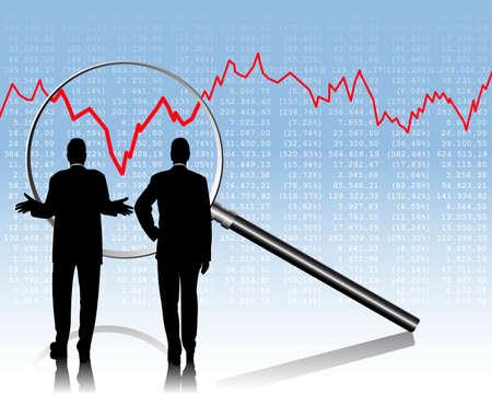 twee zaken mensen controleren de aandelenkoersen  Stock Illustratie