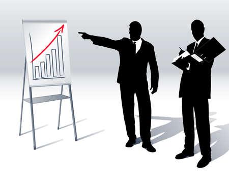 grafico vendite: presentazione del volume d'affari su una lavagna a fogli mobili Vettoriali