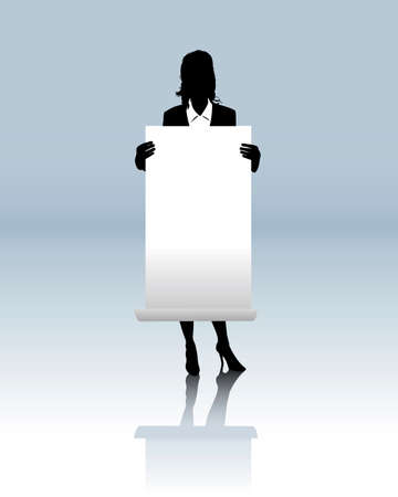 Business woman with a blank poster Vector