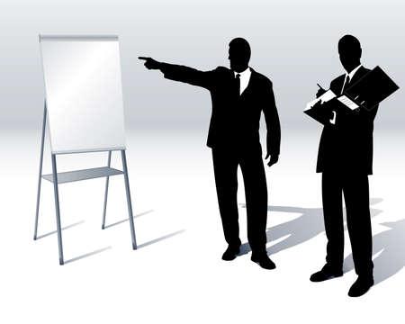 les gens d'affaires avec un tableau de conférence