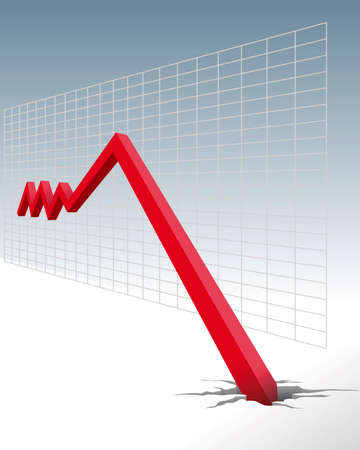 descending: diagram of economic downturn Illustration