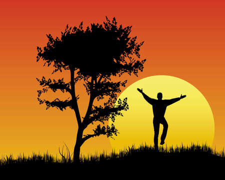 Urlaub Stimmung bei Sonnenuntergang Vektorgrafik