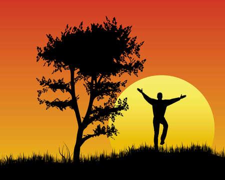 vacaciones de ánimo a la puesta del sol Ilustración de vector