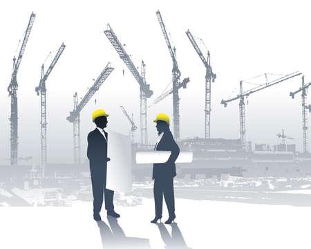 construction management: architetti in un cantiere edile