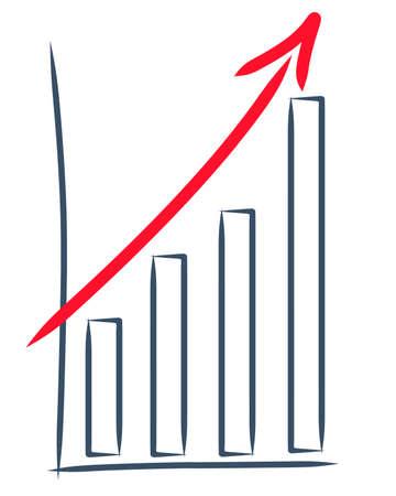 ascending: dibujo de un aumento de las ventas