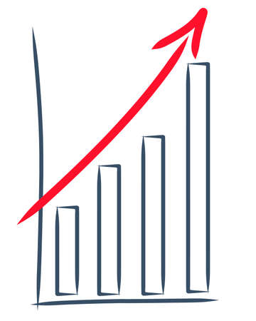 tekening van een toename van de verkoop