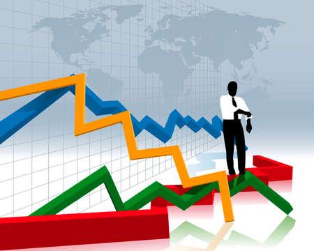 grafico vendite: crash finanziario Vettoriali