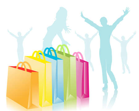 woman arms up: young and shopping