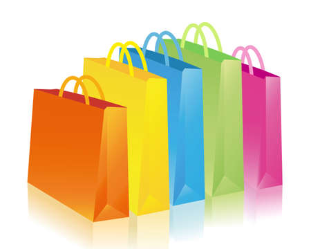 consume: colorful shopping bags