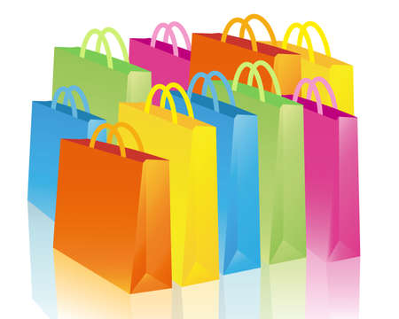 to consume: colorful shopping bags