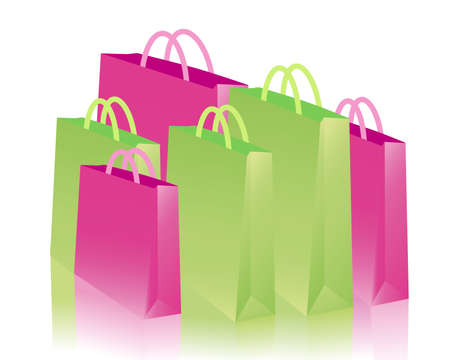 green and pink shopping bags Vector
