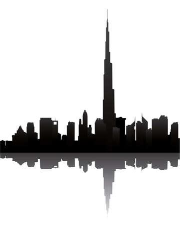 Dubai horizonte con Burj Dubai Ilustración de vector