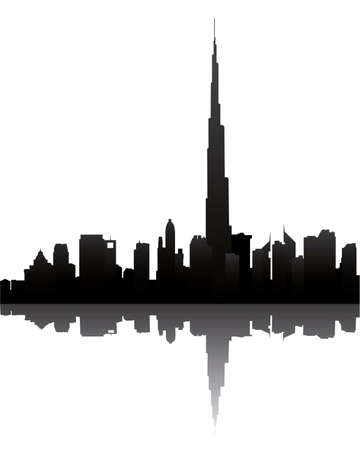 dubai skyline with burj dubai Illustration